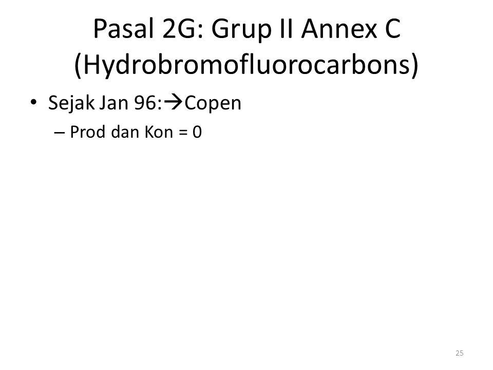 Pasal 2G: Grup II Annex C (Hydrobromofluorocarbons) Sejak Jan 96:  Copen – Prod dan Kon = 0 25