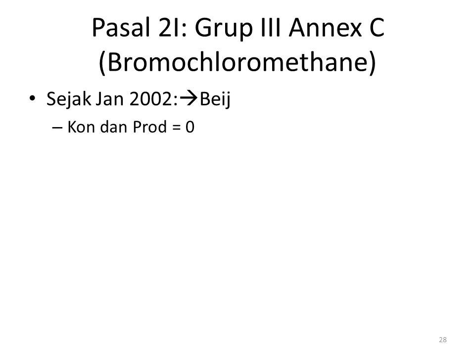 Pasal 2I: Grup III Annex C (Bromochloromethane) Sejak Jan 2002:  Beij – Kon dan Prod = 0 28