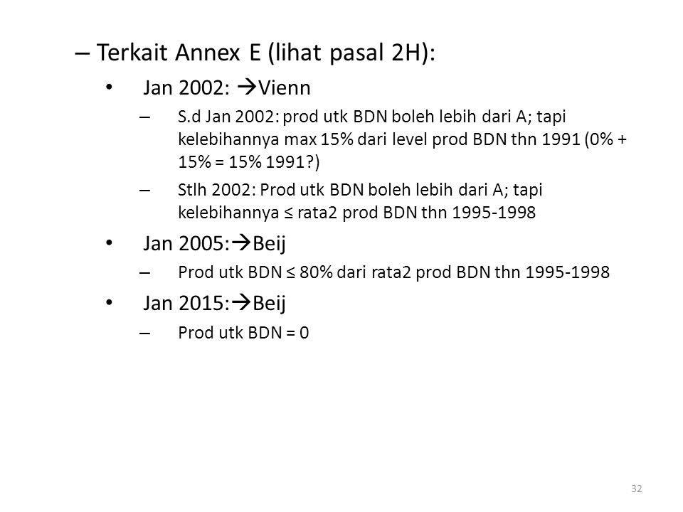 – Terkait Annex E (lihat pasal 2H): Jan 2002:  Vienn – S.d Jan 2002: prod utk BDN boleh lebih dari A; tapi kelebihannya max 15% dari level prod BDN t