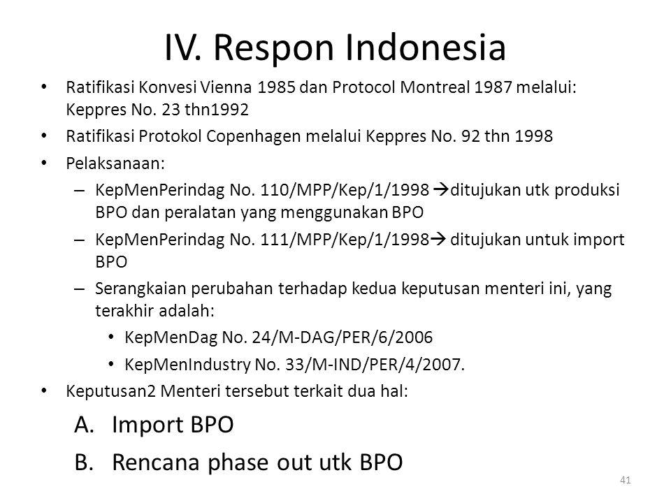 IV. Respon Indonesia Ratifikasi Konvesi Vienna 1985 dan Protocol Montreal 1987 melalui: Keppres No. 23 thn1992 Ratifikasi Protokol Copenhagen melalui