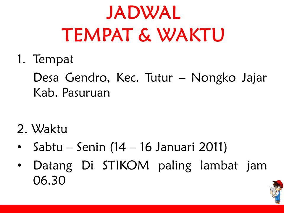 JADWAL TEMPAT & WAKTU 1.Tempat Desa Gendro, Kec. Tutur – Nongko Jajar Kab.