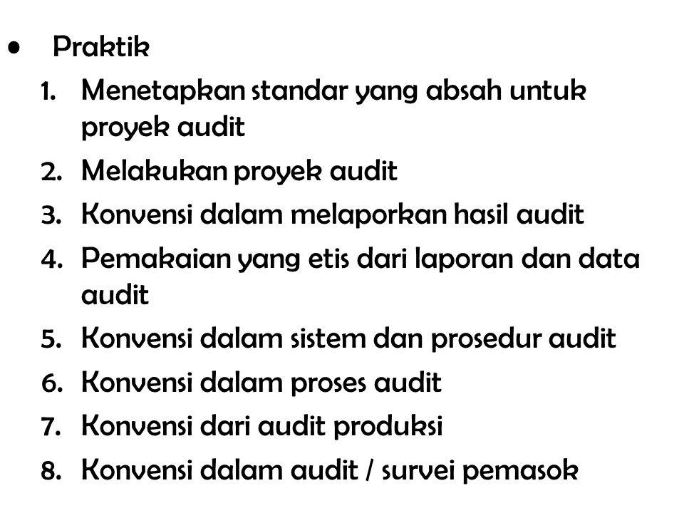 Praktik 1.Menetapkan standar yang absah untuk proyek audit 2.Melakukan proyek audit 3.Konvensi dalam melaporkan hasil audit 4.Pemakaian yang etis dari
