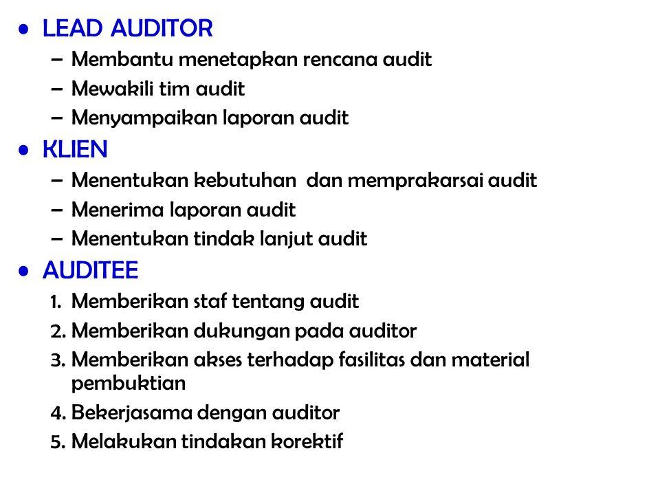 LEAD AUDITOR –Membantu menetapkan rencana audit –Mewakili tim audit –Menyampaikan laporan audit KLIEN –Menentukan kebutuhan dan memprakarsai audit –Me
