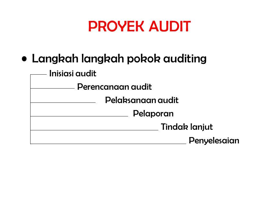 PROYEK AUDIT Langkah langkah pokok auditing Inisiasi audit Perencanaan audit Pelaksanaan audit Pelaporan Tindak lanjut Penyelesaian