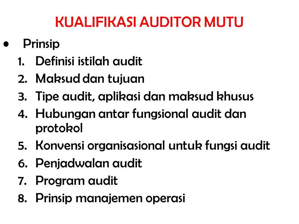 KUALIFIKASI AUDITOR MUTU Prinsip 1.Definisi istilah audit 2.Maksud dan tujuan 3.Tipe audit, aplikasi dan maksud khusus 4.Hubungan antar fungsional aud