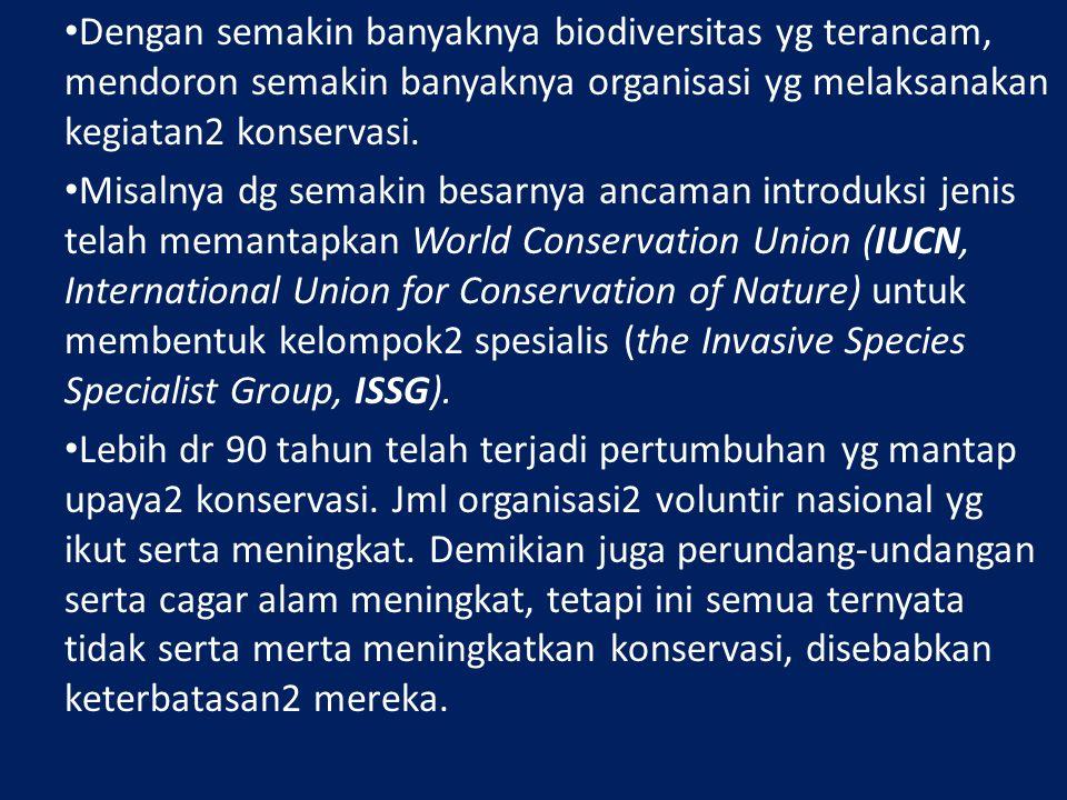 Dengan semakin banyaknya biodiversitas yg terancam, mendoron semakin banyaknya organisasi yg melaksanakan kegiatan2 konservasi.