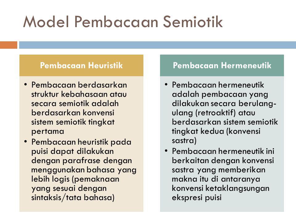 Model Pembacaan Semiotik Pembacaan Heuristik Pembacaan berdasarkan struktur kebahasaan atau secara semiotik adalah berdasarkan konvensi sistem semiotik tingkat pertama Pembacaan heuristik pada puisi dapat dilakukan dengan parafrase dengan menggunakan bahasa yang lebih logis (pemaknaan yang sesuai dengan sintaksis/tata bahasa) Pembacaan Hermeneutik Pembacaan hermeneutik adalah pembacaan yang dilakukan secara berulang- ulang (retroaktif) atau berdasarkan sistem semiotik tingkat kedua (konvensi sastra) Pembacaan hermeneutik ini berkaitan dengan konvensi sastra yang memberikan makna itu di antaranya konvensi ketaklangsungan ekspresi puisi
