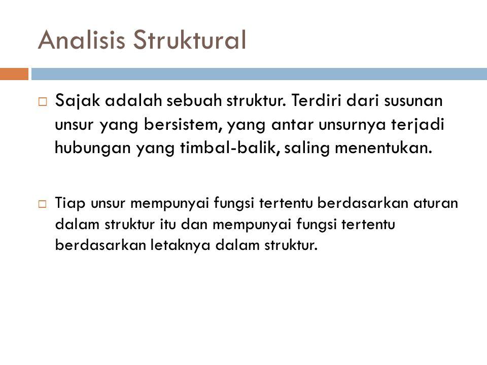 Analisis Struktural  Sajak adalah sebuah struktur. Terdiri dari susunan unsur yang bersistem, yang antar unsurnya terjadi hubungan yang timbal-balik,