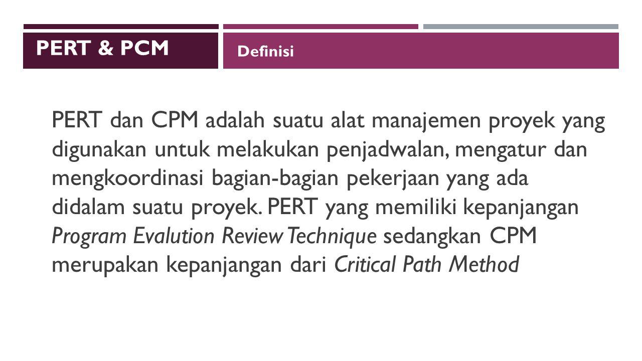 Definisi PERT dan CPM adalah suatu alat manajemen proyek yang digunakan untuk melakukan penjadwalan, mengatur dan mengkoordinasi bagian-bagian pekerjaan yang ada didalam suatu proyek.