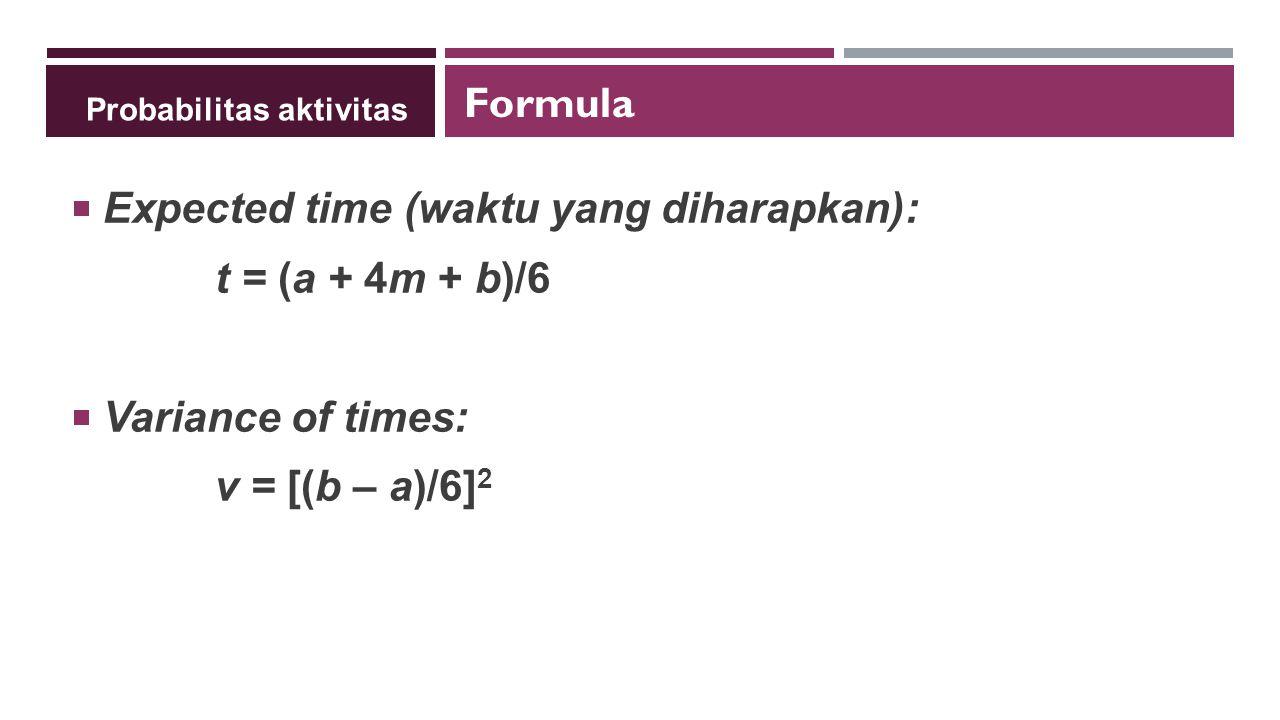 Probabilitas aktivitas  Expected time (waktu yang diharapkan): t = (a + 4m + b)/6  Variance of times: v = [(b – a)/6] 2 Formula