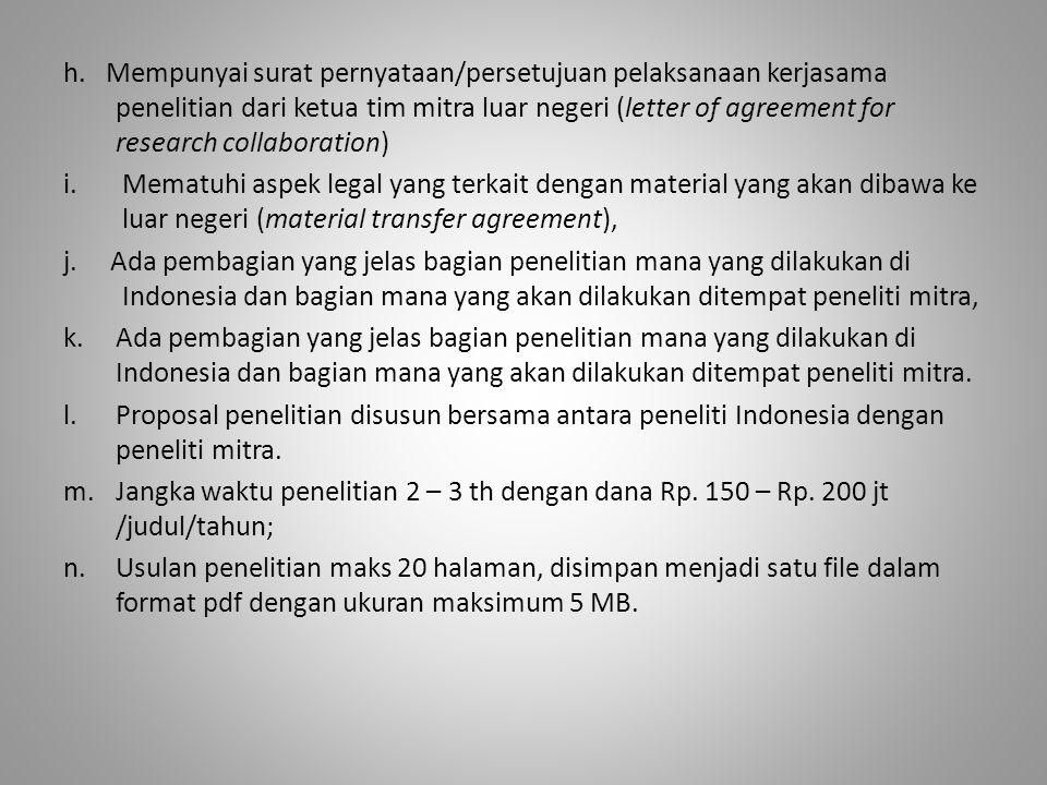 h. Mempunyai surat pernyataan/persetujuan pelaksanaan kerjasama penelitian dari ketua tim mitra luar negeri (letter of agreement for research collabor