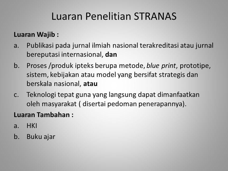 Luaran Penelitian STRANAS Luaran Wajib : a.Publikasi pada jurnal ilmiah nasional terakreditasi atau jurnal bereputasi internasional, dan b.Proses /pro