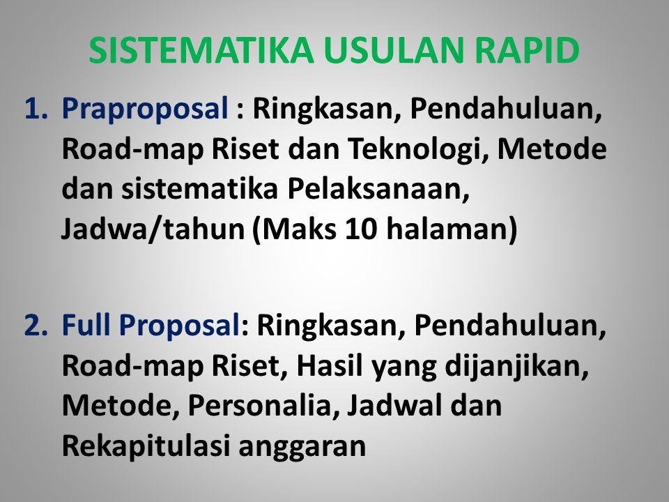 SISTEMATIKA USULAN RAPID 1.Praproposal : Ringkasan, Pendahuluan, Road-map Riset dan Teknologi, Metode dan sistematika Pelaksanaan, Jadwa/tahun (Maks 1