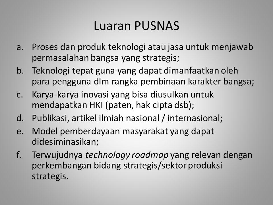 Luaran PUSNAS a.Proses dan produk teknologi atau jasa untuk menjawab permasalahan bangsa yang strategis; b.Teknologi tepat guna yang dapat dimanfaatka