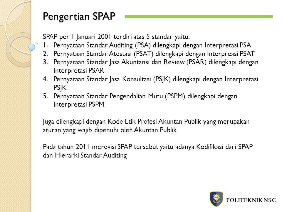 Pengertian SPAP POLITEKNIK NSC SPAP per 1 Januari 2001 terdiri atas 5 standar yaitu: 1.Pernyataan Standar Auditing (PSA) dilengkapi dengan Interpretas