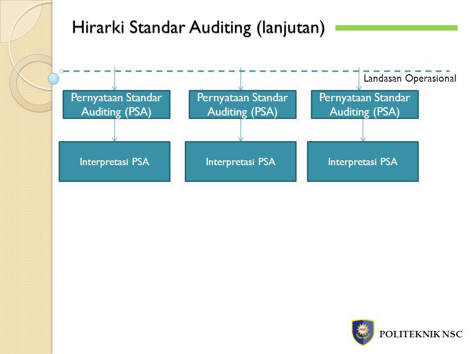 10 Standar Auditing POLITEKNIK NSC a.Standar Umum 1.Audit harus dilaksanakan oleh seseorang atau lebih yang memiliki keahlian dan pelatihan teknis yang cukup sebagai auditor 2.Dalam Semua Hal yang Berhubungan dengan Perikatan, Independensi dan Sikap Mental Harus dipertahankan Oleh Auditor.