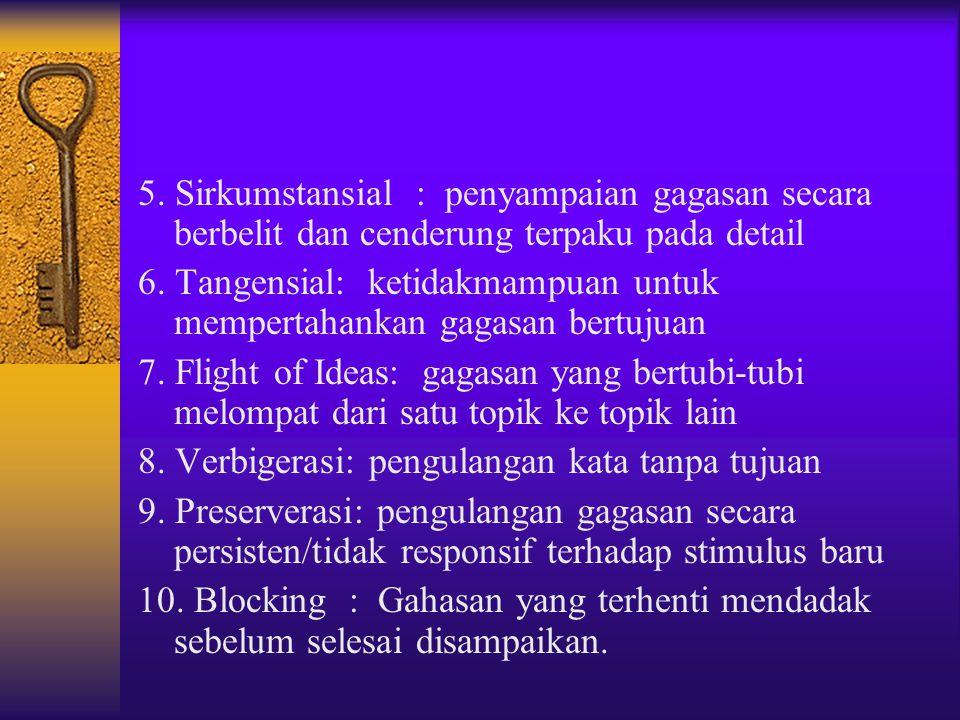 5. Sirkumstansial : penyampaian gagasan secara berbelit dan cenderung terpaku pada detail 6. Tangensial: ketidakmampuan untuk mempertahankan gagasan b