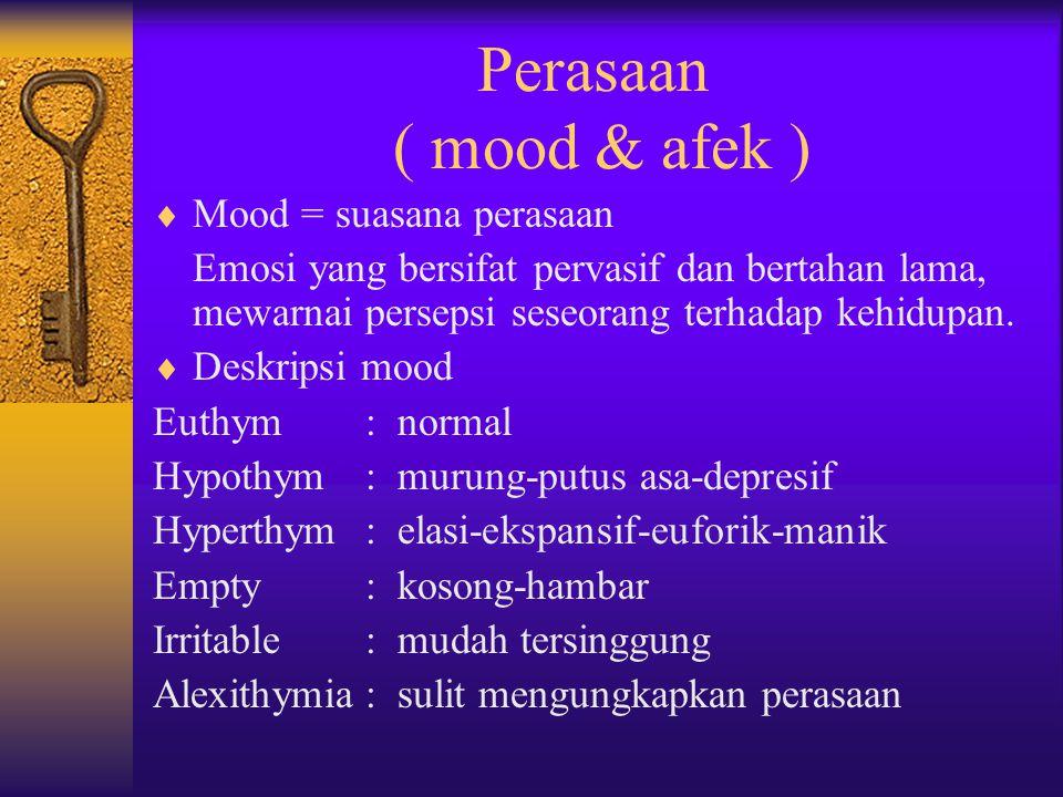 Perasaan ( mood & afek )  Mood = suasana perasaan Emosi yang bersifat pervasif dan bertahan lama, mewarnai persepsi seseorang terhadap kehidupan.  D