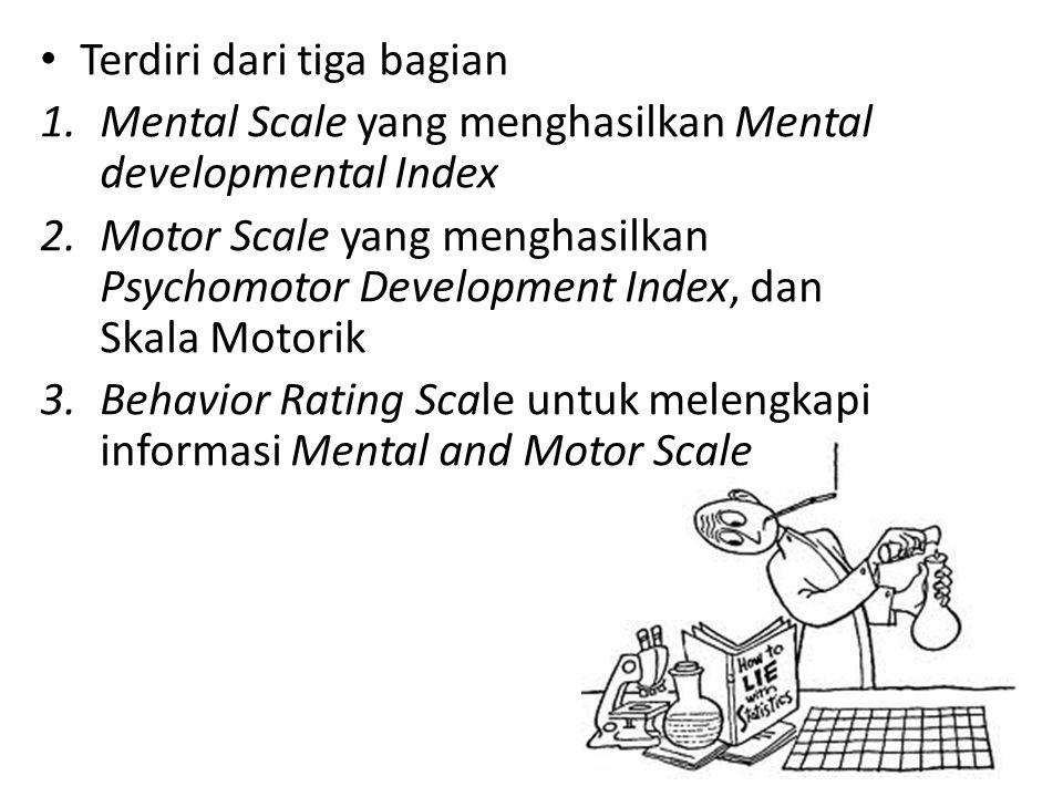 Terdiri dari tiga bagian 1.Mental Scale yang menghasilkan Mental developmental Index 2.Motor Scale yang menghasilkan Psychomotor Development Index, da
