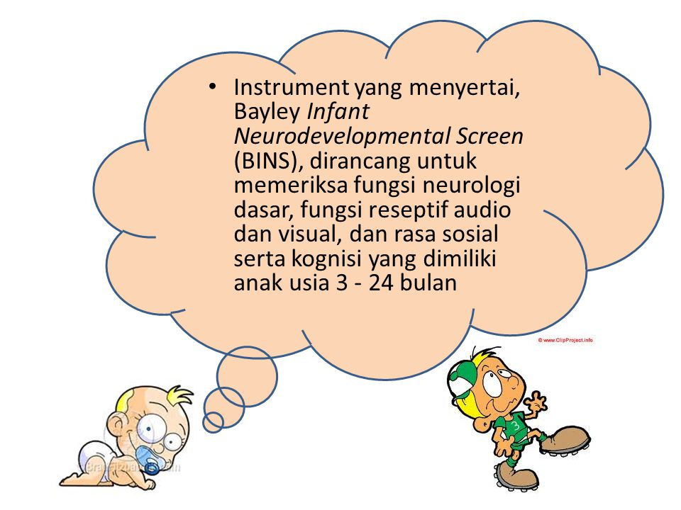 Instrument yang menyertai, Bayley Infant Neurodevelopmental Screen (BINS), dirancang untuk memeriksa fungsi neurologi dasar, fungsi reseptif audio dan