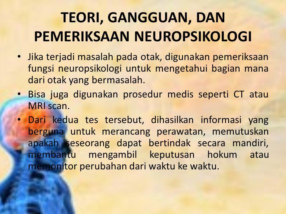 TEORI, GANGGUAN, DAN PEMERIKSAAN NEUROPSIKOLOGI Jika terjadi masalah pada otak, digunakan pemeriksaan fungsi neuropsikologi untuk mengetahui bagian ma