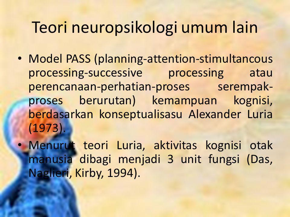 Teori neuropsikologi umum lain Model PASS (planning-attention-stimultancous processing-successive processing atau perencanaan-perhatian-proses serempa
