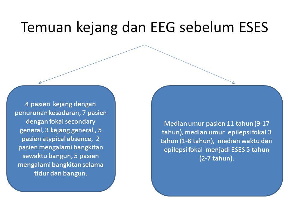 Temuan kejang dan EEG sebelum ESES 4 pasien kejang dengan penurunan kesadaran, 7 pasien dengan fokal secondary general, 3 kejang general, 5 pasien atypical absence, 2 pasien mengalami bangkitan sewaktu bangun, 5 pasien mengalami bangkitan selama tidur dan bangun.