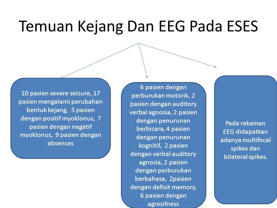 Temuan Kejang Dan EEG Pada ESES 10 pasien severe seizure, 17 pasien mengalami perubahan bentuk kejang, 5 pasien dengan positif myoklonus, 7 pasien dengan negatif myoklonus, 9 pasien dengan absences 6 pasien dengan perburukan motorik, 2 pasien dengan auditory verbal agnosia, 2 pasien dengan penurunan berbicara, 4 pasien dengan penurunan kognitif, 2 pasien dengan verbal auditory agnosia, 2 pasien dengan perburukan berbahasa, 2pasien dengan defisit memory, 6 pasien dengan agresifness Pada rekaman EEG didapatkan adanya multifocal spikes dan bilateral spikes.