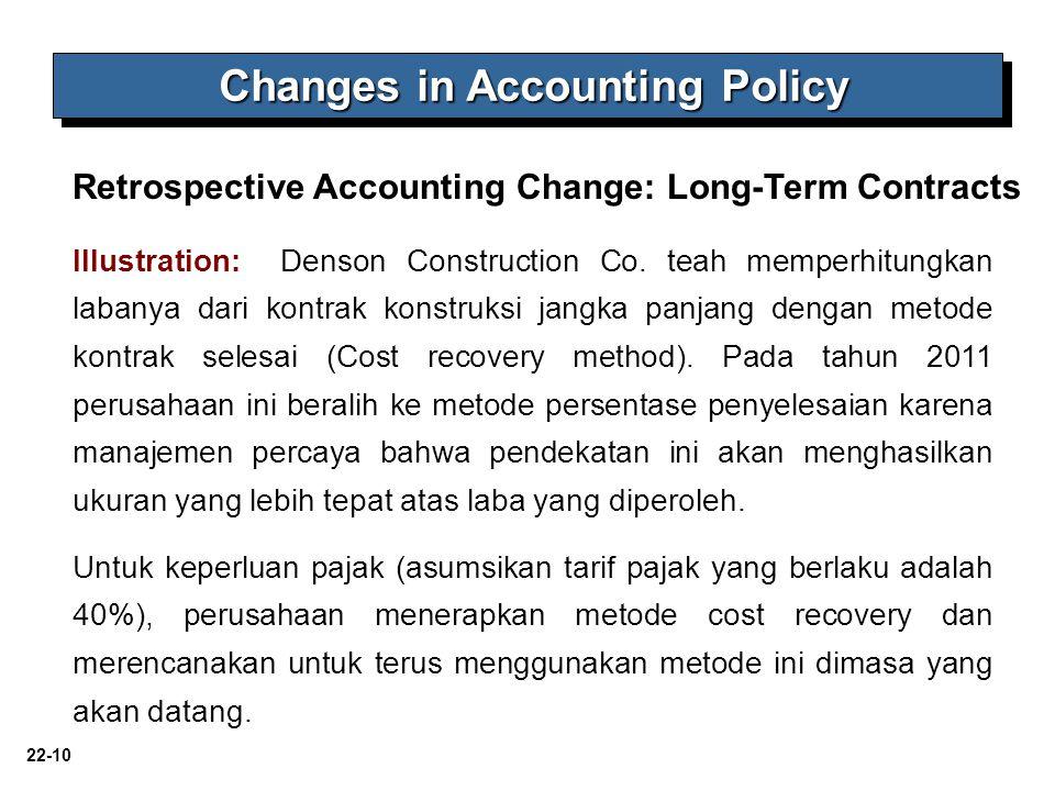 22-10 Illustration: Denson Construction Co. teah memperhitungkan labanya dari kontrak konstruksi jangka panjang dengan metode kontrak selesai (Cost re