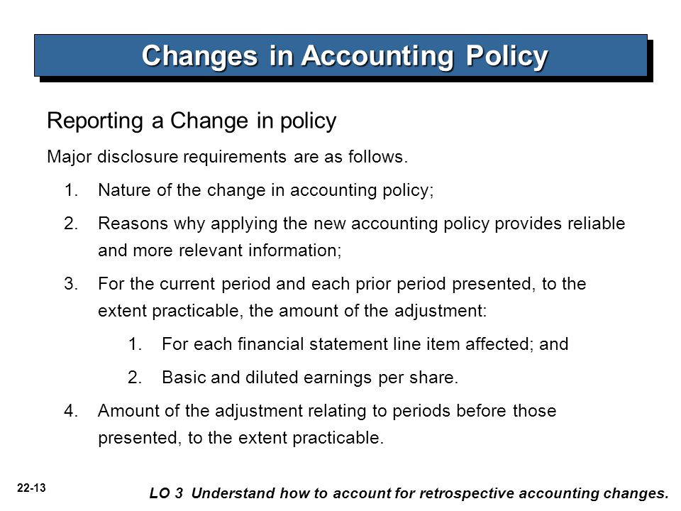 22-13 Reporting a Change in policy LO 3 Understand how to account for retrospective accounting changes.