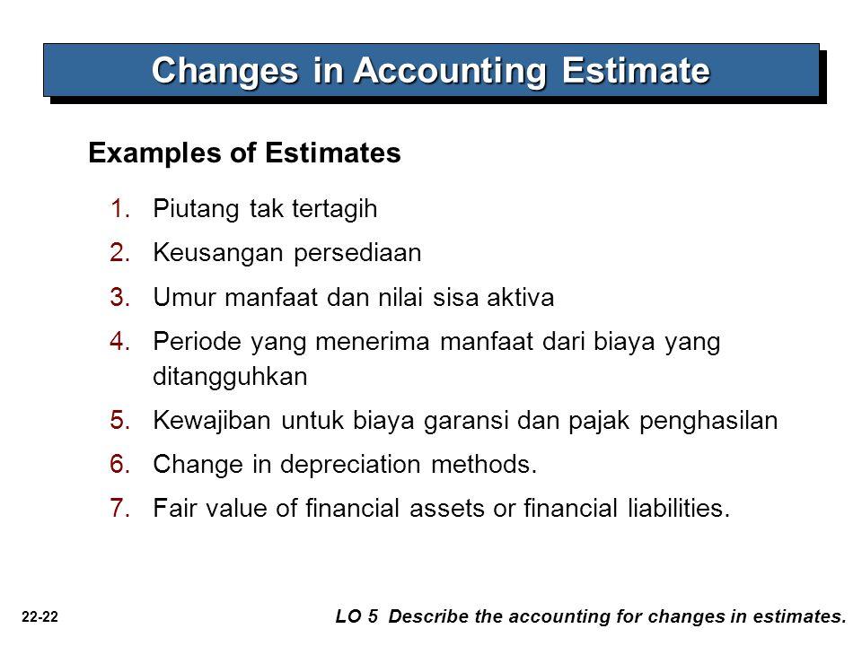 22-22 Changes in Accounting Estimate LO 5 Describe the accounting for changes in estimates. Examples of Estimates 1.Piutang tak tertagih 2.Keusangan p