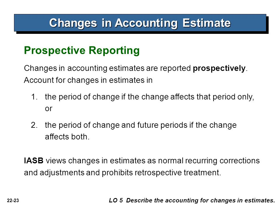 22-23 Changes in Accounting Estimate LO 5 Describe the accounting for changes in estimates.