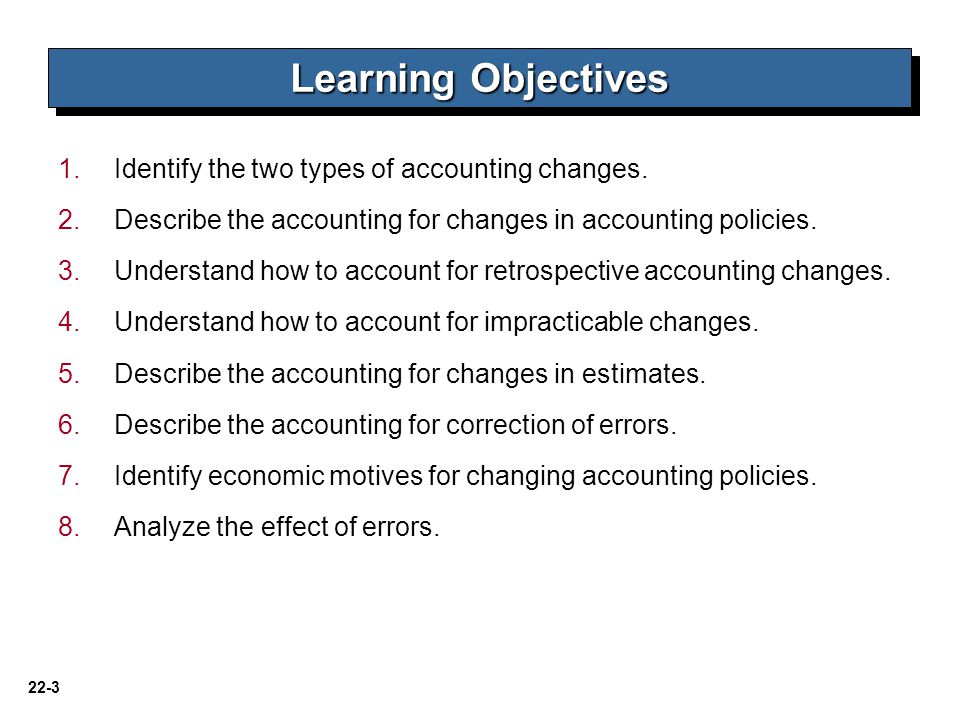 22-14 LO 3 Illustration 22-3 Reporting a Change in policy Changes in Accounting Policy