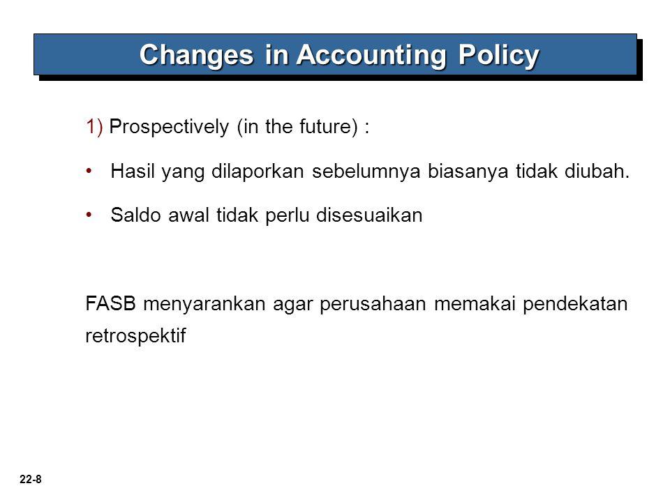 22-8 Changes in Accounting Policy 1) Prospectively (in the future) : Hasil yang dilaporkan sebelumnya biasanya tidak diubah. Saldo awal tidak perlu di