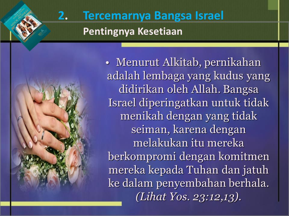 Menurut Alkitab, pernikahan adalah lembaga yang kudus yang didirikan oleh Allah. Bangsa Israel diperingatkan untuk tidak menikah dengan yang tidak sei