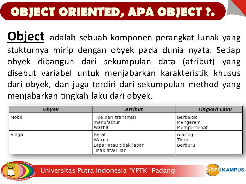 OBJECT ORIENTED, APA OBJECT ?. Object adalah sebuah komponen perangkat lunak yang stukturnya mirip dengan obyek pada dunia nyata. Setiap obyek dibangu