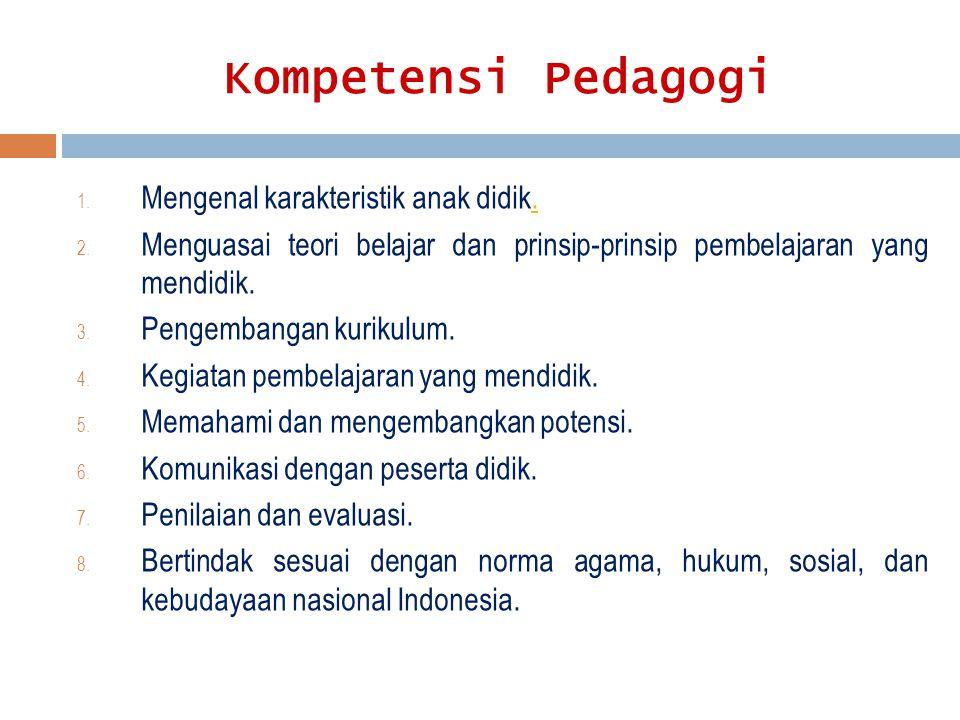 Kompetensi Pedagogi 1. Mengenal karakteristik anak didik.. 2. Menguasai teori belajar dan prinsip-prinsip pembelajaran yang mendidik. 3. Pengembangan