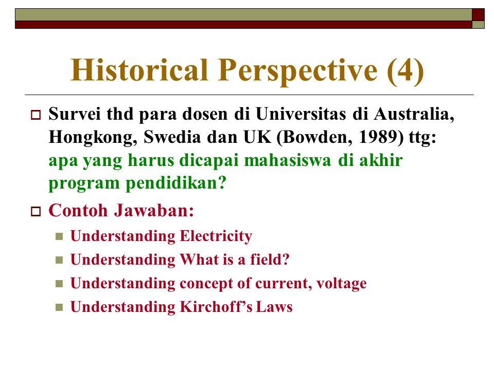 Historical Perspective (4)  Survei thd para dosen di Universitas di Australia, Hongkong, Swedia dan UK (Bowden, 1989) ttg: apa yang harus dicapai mah