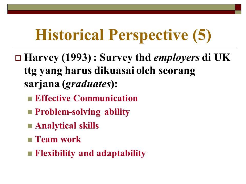 Historical Perspective (5)  Harvey (1993) : Survey thd employers di UK ttg yang harus dikuasai oleh seorang sarjana (graduates): Effective Communicat