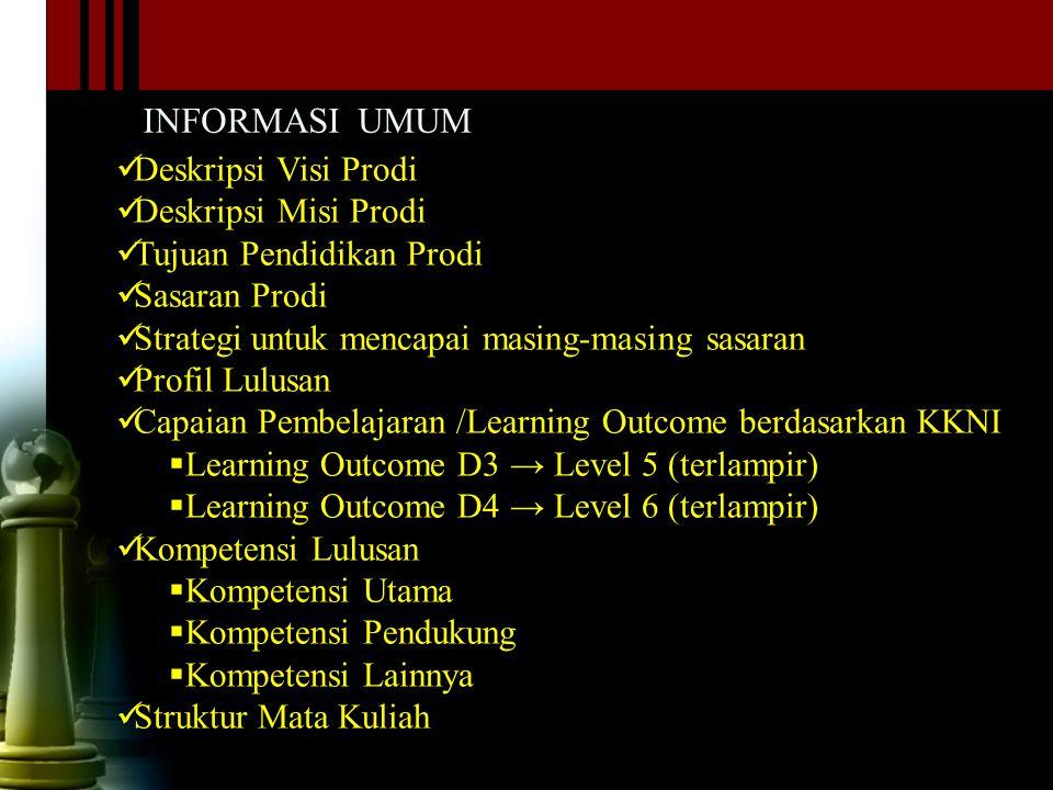 INFORMASI UMUM Deskripsi Visi Prodi Deskripsi Misi Prodi Tujuan Pendidikan Prodi Sasaran Prodi Strategi untuk mencapai masing-masing sasaran Profil Lu