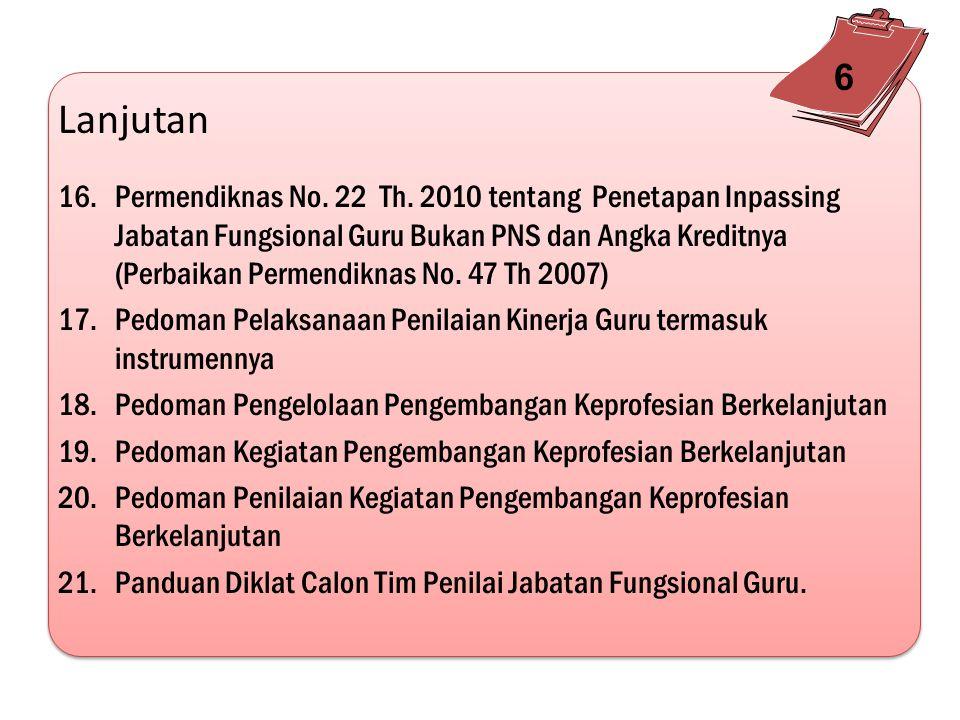 Lanjutan 11.Permendiknas No. 39 Tahun 2009 tentang Pemenuhan beban kerja Guru dan Pengawas Satuan Pendidikan tanggal 30 Juni 2009 12.Penerbitan Permen