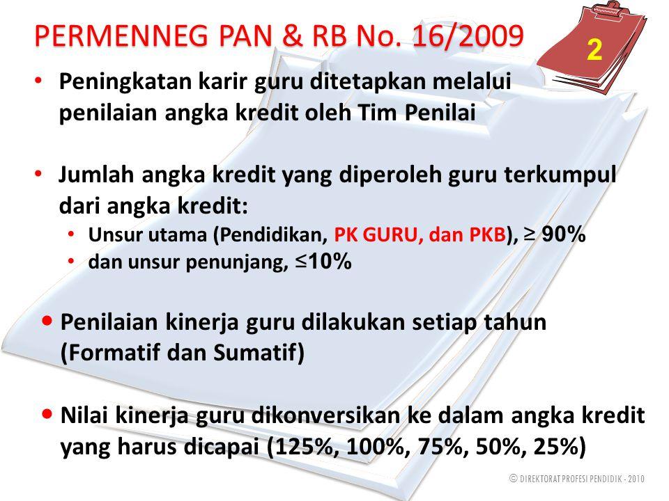 © DIREKTORAT PROFESI PENDIDIK - 2010 Proses tersebut berdasarkan PERMENNEG PAN & RB No. 16/2009 Guru harus berlatang belakang pendidikan S1/D4 dan Pen