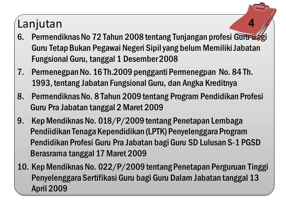 4.Permendiknas/Kepmendiknas 1.Kep Mendiknas No. 129a/U/2004 tentang Standar Pelayanan Minimal Bidang Pendidikan 2.Permendiknas No. 16 tahun 2007 tenta