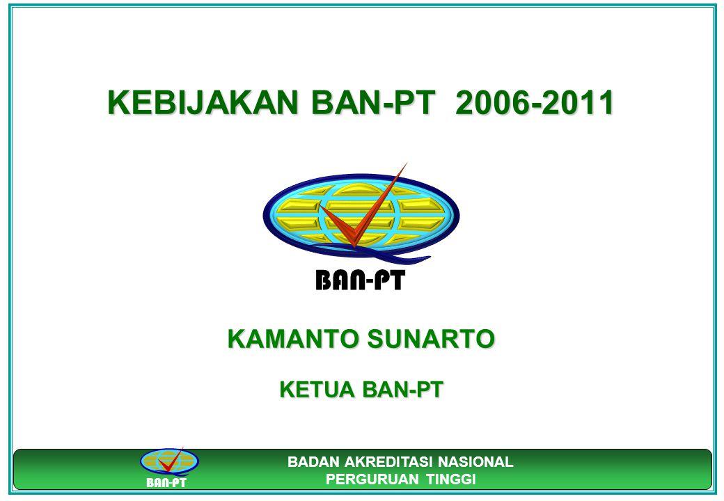 BAN-PT BADAN AKREDITASI NASIONAL PERGURUAN TINGGI KEBIJAKAN BAN-PT 2006-2011 KAMANTO SUNARTO KETUA BAN-PT BAN-PT
