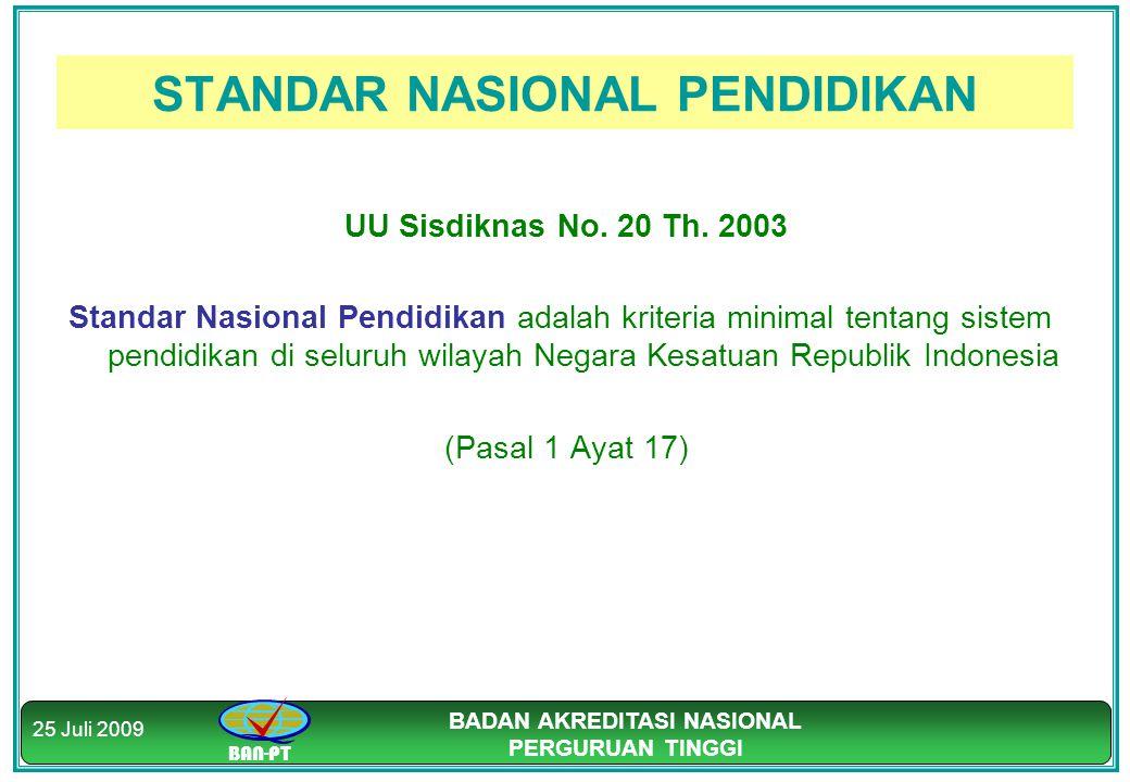 BAN-PT BADAN AKREDITASI NASIONAL PERGURUAN TINGGI 25 Juli 2009 STANDAR NASIONAL PENDIDIKAN UU Sisdiknas No. 20 Th. 2003 Standar Nasional Pendidikan ad