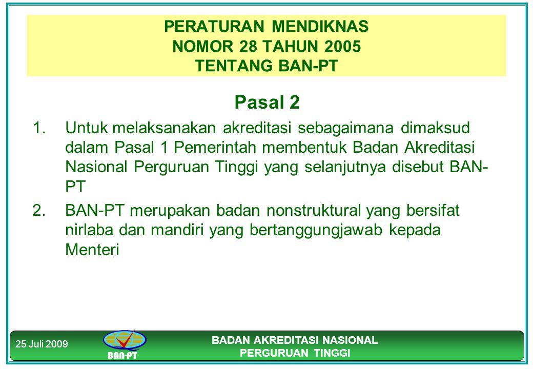 BAN-PT BADAN AKREDITASI NASIONAL PERGURUAN TINGGI 25 Juli 2009 PERATURAN MENDIKNAS NOMOR 28 TAHUN 2005 TENTANG BAN-PT Pasal 2 1.Untuk melaksanakan akr