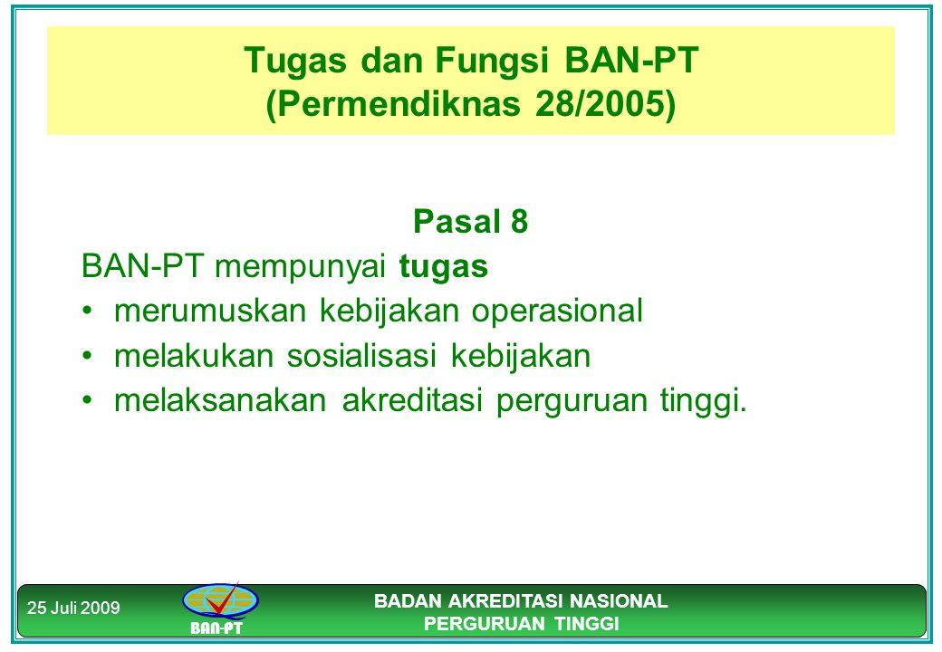 BAN-PT BADAN AKREDITASI NASIONAL PERGURUAN TINGGI 25 Juli 2009 Tugas dan Fungsi BAN-PT (Permendiknas 28/2005) Pasal 8 BAN-PT mempunyai tugas merumuska