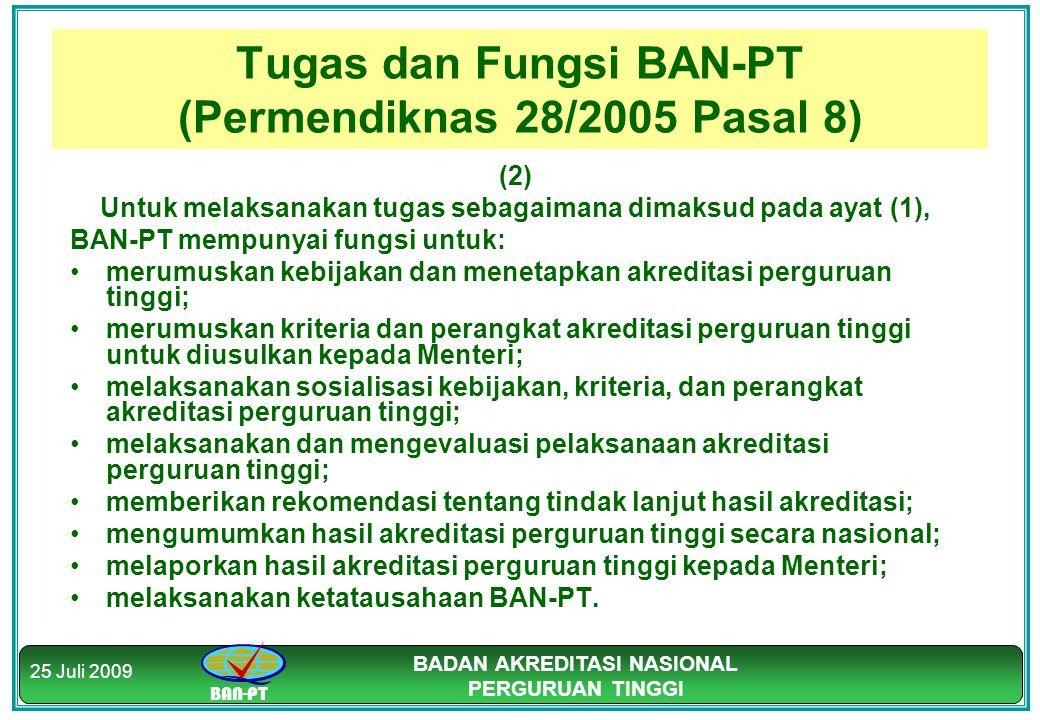 BAN-PT BADAN AKREDITASI NASIONAL PERGURUAN TINGGI 25 Juli 2009 Tugas dan Fungsi BAN-PT (Permendiknas 28/2005 Pasal 8) (2) Untuk melaksanakan tugas seb