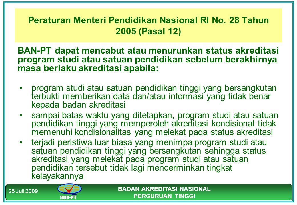 BAN-PT BADAN AKREDITASI NASIONAL PERGURUAN TINGGI 25 Juli 2009 Peraturan Menteri Pendidikan Nasional RI No. 28 Tahun 2005 (Pasal 12) BAN-PT dapat menc
