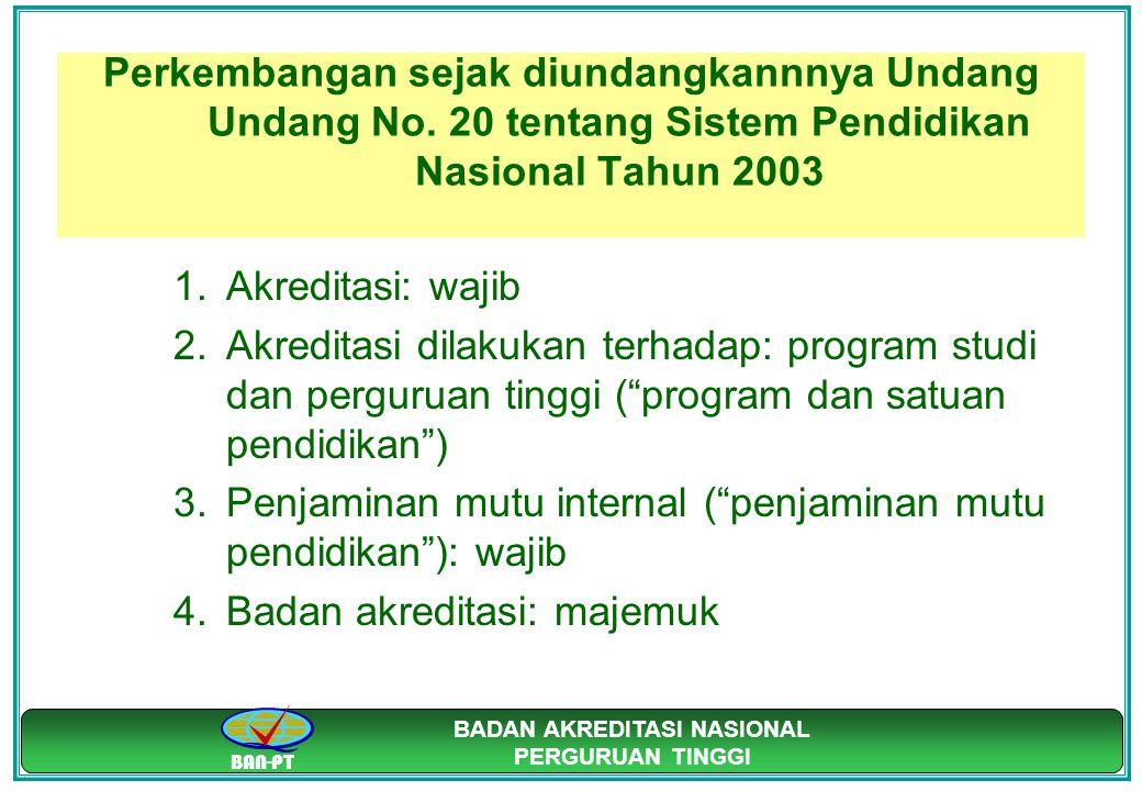 BAN-PT BADAN AKREDITASI NASIONAL PERGURUAN TINGGI Perkembangan sejak diundangkannnya Undang Undang No. 20 tentang Sistem Pendidikan Nasional Tahun 200